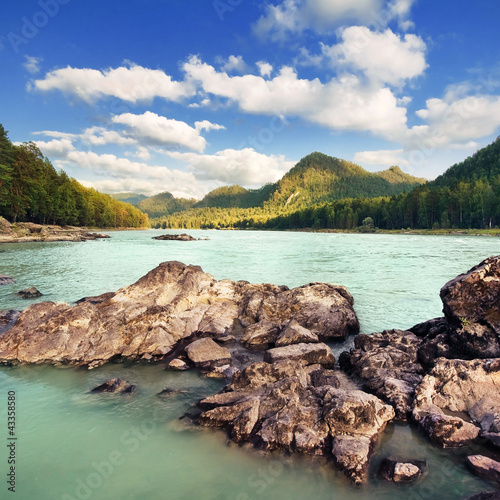 Beautiful mountain landscape with river. Altai, Russia