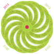 2013 calendar round shaped pinwheel green on white background