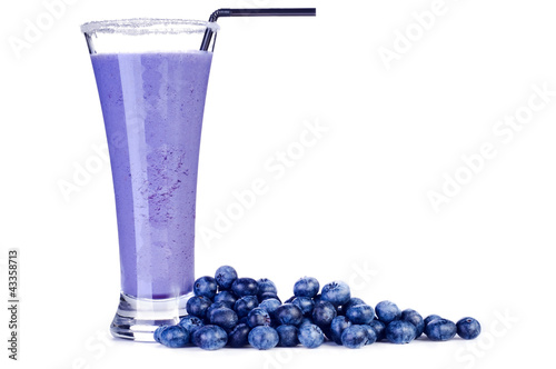 Delicious blueberry smoothie with fresh berrys Isolated on white