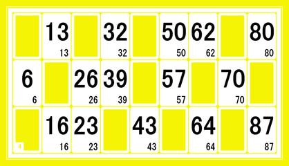 Carton de loto en jaune