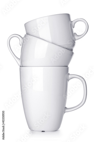 Pile of white cup isolated on white background