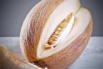close up of yellow melon