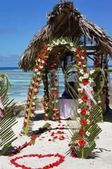 wedding decoration on the beach
