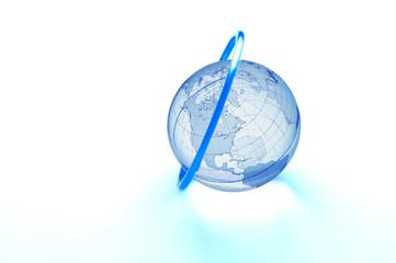 Blue ring around glass globe