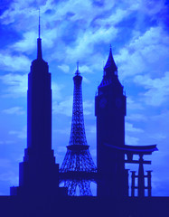 Montage of historical landmarks against sky