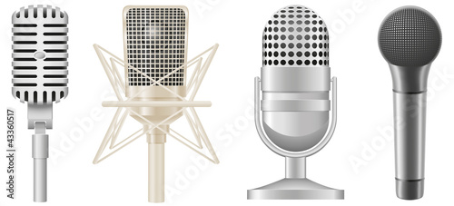icon set of microphones vector illustration - 43360517