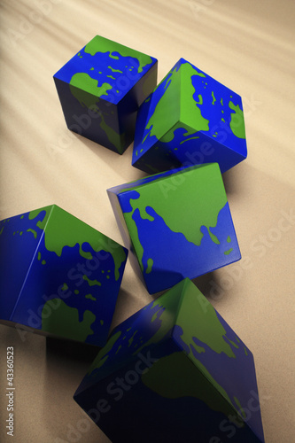 Blocks with globe pattern