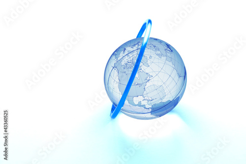 Blue ring around glass globe