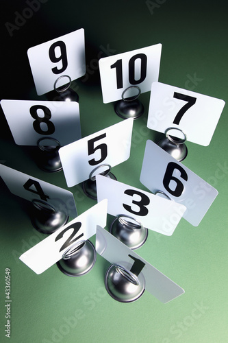 Number cards on place card holders