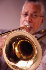 Musician playing trombone