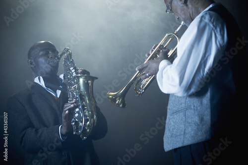 Musicians playing in jazz band on stage