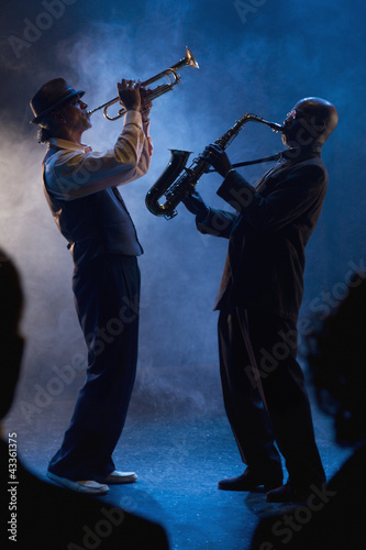 Musicians playing in jazz band