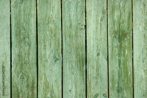 Old green wooden fence.