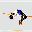 Greek art stylized athlete jumping high over crossbar