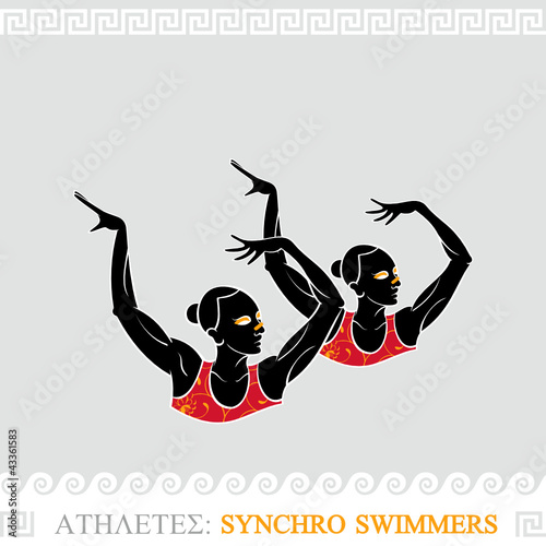 Greek art stylized synchronized swimmers duet