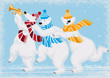 Vector illustration of three funny polar bears in scarves