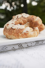 Close up of almond croissant