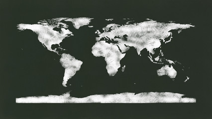 Chalk World Map. NASA image used as reference to redraw.