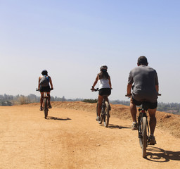 Friends riding mountain bikes on dirt road