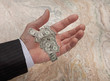 Caucasian businessman's hand holding tiny dollar bills