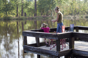 Caucasian mother fishing on pier with daughter