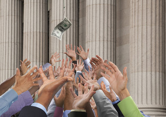Crowd stretching hands up to catch falling one dollar bill