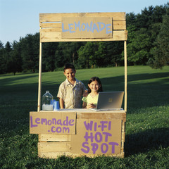 Children with wi-fi enabled lemonade stand