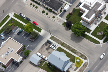 Aerial view of town roads and buildings