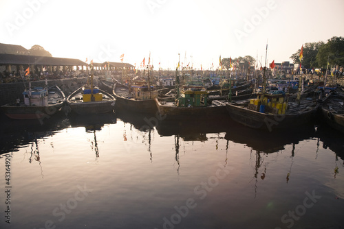 Fishing boats mooring in harbor
