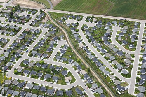 Aerial view of houses in community development