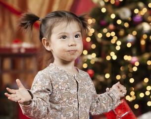 Messy mixed race girl at Christmas
