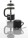 Cup of coffee and French press