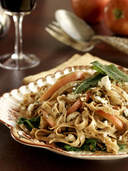Linguini pasta with pumpkin