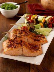 Grilled sockeye salmon with vegetable skewers