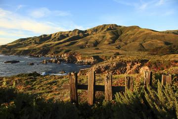 Rolling hills next to ocean