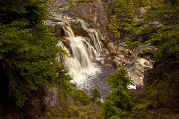 Remote waterfall in forest
