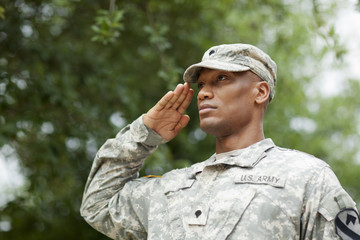 Black soldier saluting
