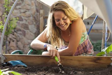 Caucasian woman gardening