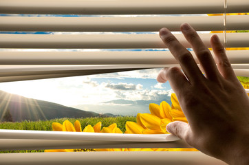 Hand opening window blinds with beautiful landscape view
