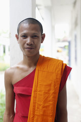 Serious Cambodian monk