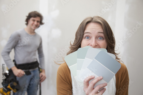 Couple looking at color swatches