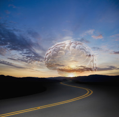 Large brain floating over remote highway