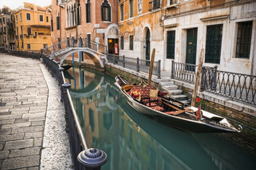Gondola moored in canal