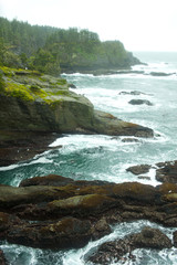 Ocean and rocky shore of remote area