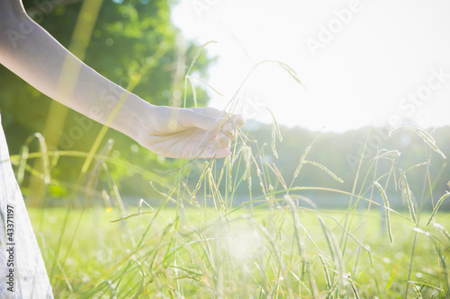 Hispanic woman picking grass in field