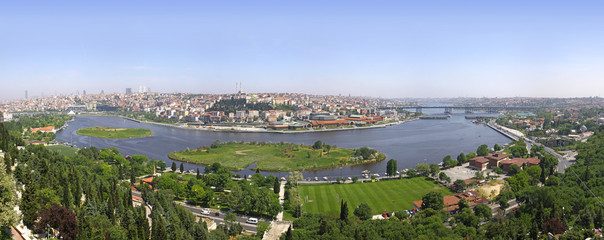 Istanbul city, Turkey. Panoramic view of Golden Horn