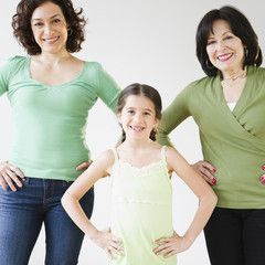 Smiling, grandmother, mother and daughter
