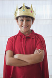 Hispanic boy dressed as king