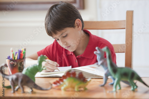 Hispanic boy studying at table