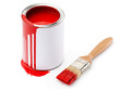 Full of red paint tin and paintbrush which is dirty with red ink
